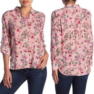 Como Vintage Stripe Floral Button Shirt, S